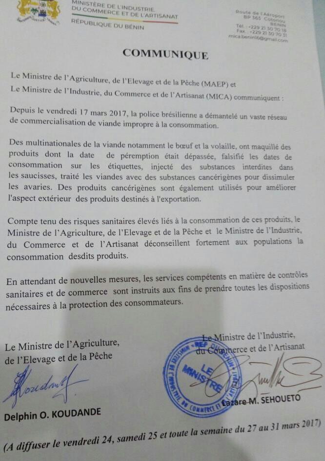 Communiqué du Ministre de l'Agriculture, de l'Elevage et de la Pêche sur l'importation des poulets au Bénin