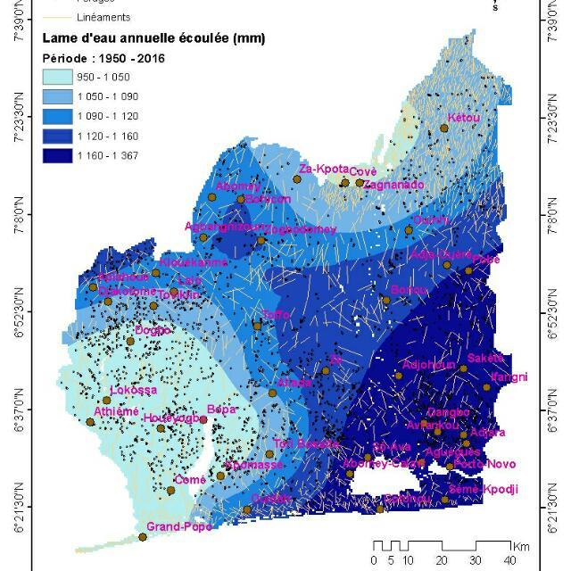 Lame d'eau annuelle écoulée au Bénin.
