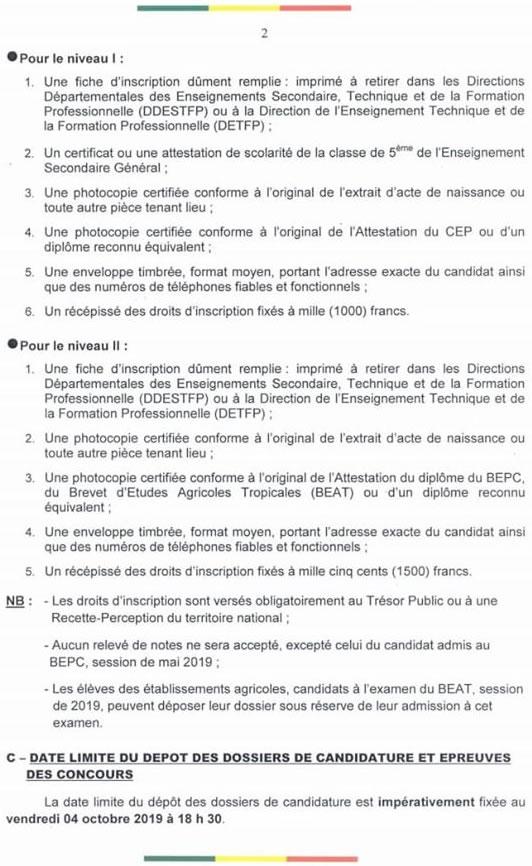 La liste des pièces à fournir pour les concours d'entrée dans les lycées agricoles du Bénin.